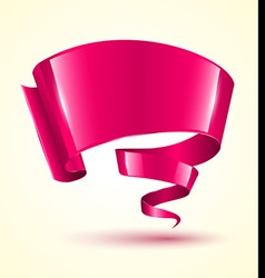 Pink ribbon banner twist vector