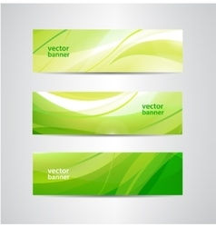 Set of green eco wavy banners vector