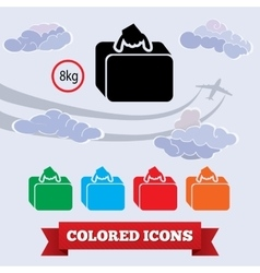Transportation airport baggage icon hand luggage vector