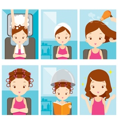 Relaxing girl in hair salon set vector
