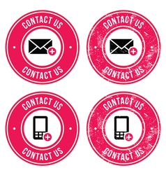 Contact us retro old labels with phone email icon vector image