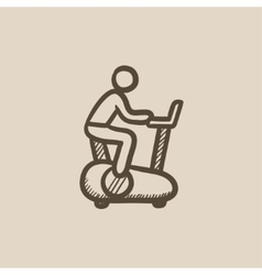Man training on exercise bike sketch icon vector