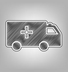 ambulance sign pencil sketch vector image vector image