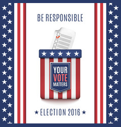 American election 2016 background with ballot box vector