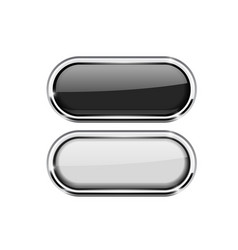black and white oval buttons with chrome frame vector image vector image