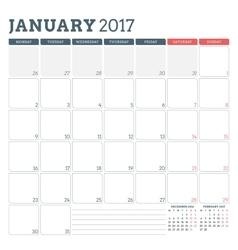 Calendar planner template for january 2017 week vector