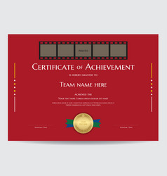Certificate of achievement template with photo vector