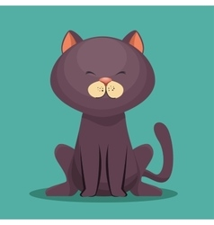 cute kitti gray sit icon vector image