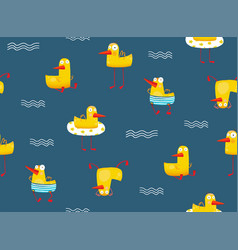 Cute yellow baby duck pattern seamless pattern vector