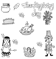 Doodle of thanksgiving indian people and food vector