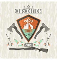 Expedition emblem forest camp vector