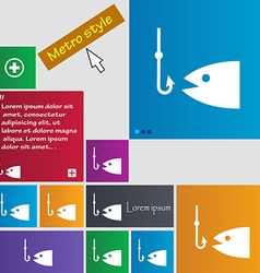 Fishing icon sign buttons modern interface website vector