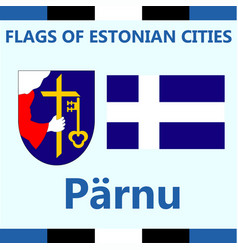 Flag of estonian city parnu vector