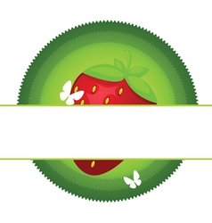 fresh strawberry label vector image vector image