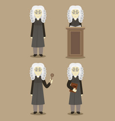 Hand drawn legal judge set vector