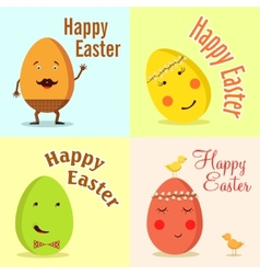 Happy Easter of funny eggs vector image vector image