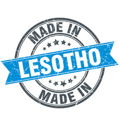 Made in lesotho blue round vintage stamp vector