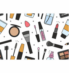 Makeup tools seamless pattern vector
