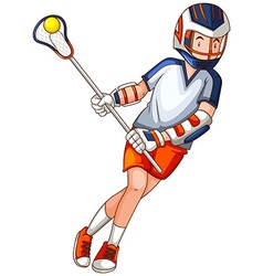 Man playing lacrosse with net and ball vector image vector image