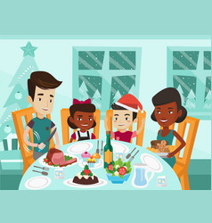 multiethnic family celebrating christmas day vector image