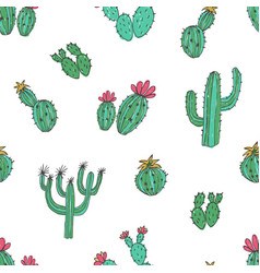 natural seamless pattern with hand drawn green vector image vector image