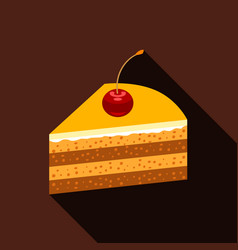 Piece of cake icon flat style vector