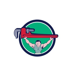 Plumber weightlifter monkey wrench circle cartoon vector