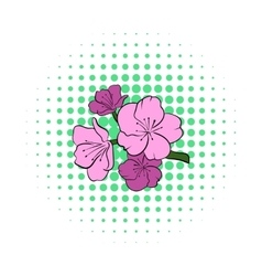Sakura icon in comics style vector