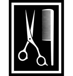 scissors with comb - icon for barbershop vector image vector image