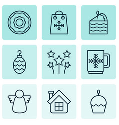 set of 9 new year icons includes winter cup vector image