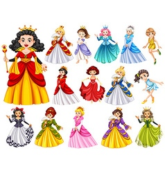 Set of beautiful queens and princess vector