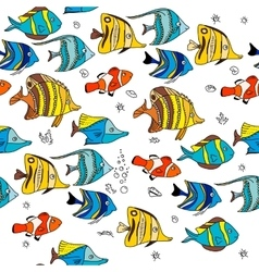 Simple seamless pattern with coral fishes endless vector