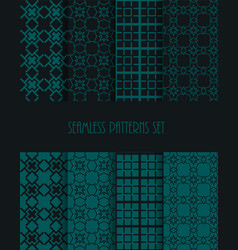 stylish seamless pattern set decorative line tile vector image vector image