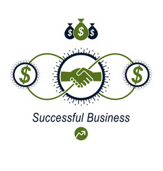 successful business creative logo handshake vector image