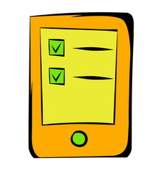Tablet with the objectives of icon cartoon vector