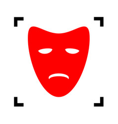 Tragedy theatrical masks red icon inside vector