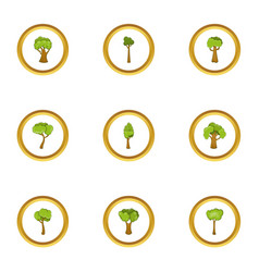 tree plant icons set cartoon style vector image vector image