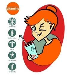 Vitamin girl vector image