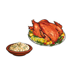 Whole roasted turkey and bowl of mashed potato vector