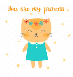 you are my princess cute little kitty greeting vector image vector image
