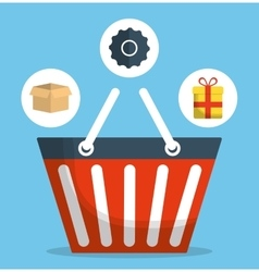 Shopping basket online store market icon vector