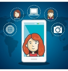 cartoon woman white smartphone connection web vector image