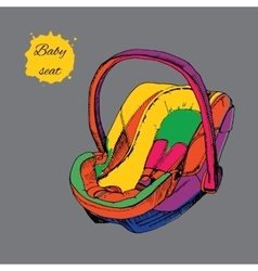 Hand drawn colorful baby seat for vector