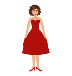 woman with red prom dress and eighties hairstyle vector image