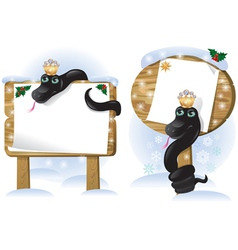 Black snake wooden sign vector image