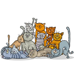 Happy cats group cartoon vector