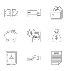Money icons set outline style vector