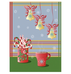 Cup of tea and christmas holidays decorations vector