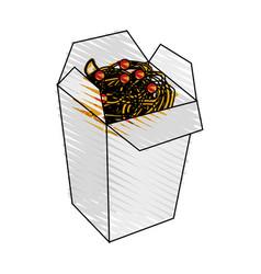 color crayon stripe cartoon box with noodles food vector image
