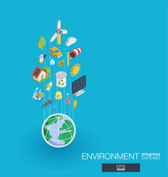 Environmental integrated 3d web icons growth and vector